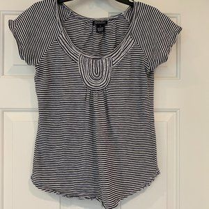 Lucky Brand Cotton Striped Top Cap Sleeves Size S
